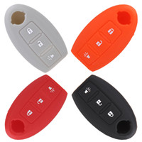 auto remote key - Car Auto Silicone Skin Remote Car Key Holder Fob Keyless Car Key Shell for Nissan Buttons Uncut Blade Car Cover Case Colors K1859