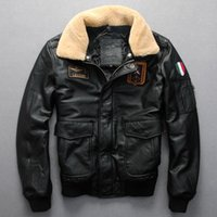 aviator size - Fall Men Black Leather Pilot Jacket Wool Collar Genuine Cowskin Plus Size XXXL Men Winter Military Aviator Coat