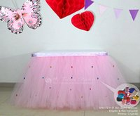Wholesale Luxury Puffy Tulle Tutu Table Skirt Rhinestones Custom Wedding Table Skirt Table Covering Customized Table Skirts quot Height quot Length