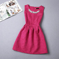 Wholesale Cheap Pink Ornaments - Cheap Short A Line Women's Casusal Dresses Cap Sleeveless Print Crew Beading Ornament Cocktail Party Skirt Women Daily Dresses OXL072203