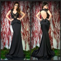 Cheap 2015 Designer Sexy V Neck Mermaid Evening Dresses Peplum Black Satin Backless Dress Party Gowns Sweep Train Prom Gowns
