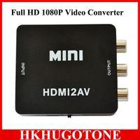 Wholesale DHL Free Mini hdmi to AV CVBS L R Video Adapter Support NTSC and PAL Output Mini HD Video Converter Box HDMI2AV Signal Converter P
