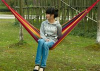 Cheap 10PCS HHA633 Cotton Camping hammock swing outdoor thickening canvas hammock casual single double bearing Hot Sell