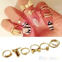 acrylic nails simple - 7Pcs Punk Promotion Gold Color Skull Bowknot Heart Nail Simple Band Mid Finger Top Stacking Rings Set for Women Z8