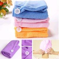 Wholesale 1PC x63cm Microfiber Magic Drying Turban Wrap Towel Hat Cap Hair Dry Quick Dryer Bath Salon Towels