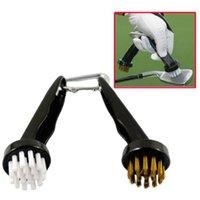 golf brush - New Brass Nylon Golf Club Shoes Groove Cleaning Brush Golfer Cleaner