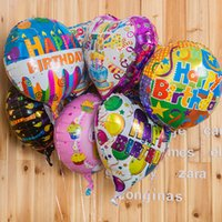 balloons for sale - 18 inches Color Aluminum Foil Balloons HAPPY BIRTHDAY Cartoon Children Balloons Baby Gift Toys for Sale