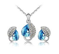 Crystal, Rhinestone aqua chain - 2015 New Woman Jewelry Austria Crystal Jewelry Set Fashion Silver Chain Fit Crystal Pendant Necklace Earrings Jewelry Colors sets