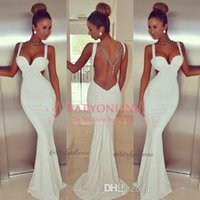 Spaghetti Straps sequin fabric - hot sexy white sequins fabric formal evening dresses spaghetti straps backless sweep train mermaid prom gowns BO4919