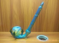 Wholesale new shaped Glass pipes Claw pipe glass smoking pipes glass water pipes green and yellow glass pipe