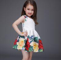 white cotton dress - 2016 Spring Summer Flower Embossed Dresses Girls Sleeveless Princess Dress Cotton Kids Tutu Dress Party Dress K6606
