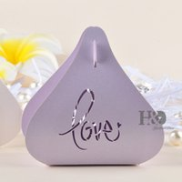 Wholesale Hot Sale Heart Wedding Box packs Lilac Color Heart Shape Wedding Favor Boxes Gift box Candy box