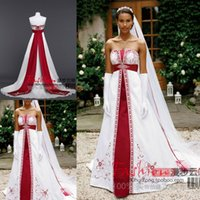 red and white strapless wedding dresses - Strapless Sleeveless Red And White Wedding Dresses Stain Lace Up Back Handwork Embrdiery Custom Court Train Bridal Gowns