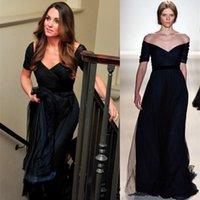 Wholesale Black Kate Middleton Evening Dresses Jenny Packham Ruched Off Shoulder Evening Long Dresses Short Sleeve Bridesmaid Gowns