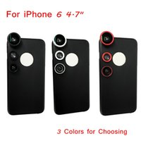 "Cheap 3-in-1 Mobile Phone Lens for iPhone 6 4.7"" with Case Fisheye Fish Eye Lens + Macro Lens + Wide Angle Lens 3 Colors for Choosing PA1983"