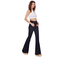 Wholesale Plus Size New Women Clothing Jeans Casual Denim Flared Pants Leisure Mid Waist Jeans Ladies Slim Bell Bottoms HD526