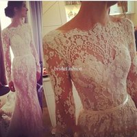 long sleeves wedding dress lace - 2015 Elegant Lace Wedding Dresses Long Sleeves Zipper Bateall Wedding Gowns A Line Vintage Lace Bridal Dress