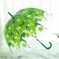 Wholesale Long Handle Sunny and Rainy Umbrella Creative Green Leaves Design Parasol cm Radius Semi Automatic Lace Umbrella