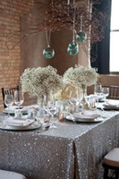 table covers - 2015 Sequins Rectangle Table Cloths Sparking Champagne Gold Silver Table Covering For Wedding Party Custom Made Wedding Decorations