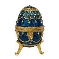 animal trinket box - Deal home decoration gift box faberge crafts classic noble Blue egg shape jewelry box Easter egg trinket box vintage