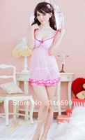 Wholesale lingerie Sexy Transparent Babydoll Pink Skirt Nighty Dress Sexy Sleepwear with Sexy T back Dropshipping US1201