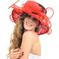 ladies dress hat - Promotion Wide Brim Floppy Hats Organza Kentucky Derby Ascot Church Hats for Ladies Fashion Wedding Dress Hats S045