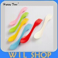 Wholesale DHL Plastic spoon fork outdoor spork For colors