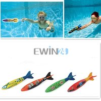 Wholesale 4PCS SET Underwater Torpedo Rocket Swimming Pool Toy Swim Dive Sticks Holiday Games New and Hot Selling