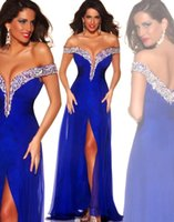 Wholesale Royal Blue Backless Crystal Evening Dresses Off Shoulder Beads Neckline Front Slit Long Prom Dresses Women Formal Evening Gowns BO5779