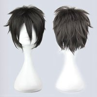 Cheap Black Short Cosplay Wigs Sword Art Online Kazuto 32CM Length Synthetic Hair Anime Roles Cartoon Character Cheap Halloween Carnival Hair Wigs