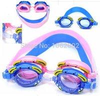 Wholesale 2015 Summer swim eyewear swimming goggles Cartoon silicone Anti fog Waterproof UV swim glasses Children kids Boys gift