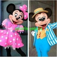 Wholesale 2015 High quality Mickey Mouse mascot costume Mickey mascot Minnie mascot Minnie mascot pink dress R09
