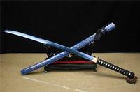 Wholesale japanese high quality goods High Quality Clay Tempered Blue Samurai Sword Katana Sharp blade Battly Ready