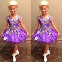 Wholesale Luxury Short Glitz Little Girl s Pageant Dresses for teens with Spaghetti Straps Crystal Light Purple Toddler Kids Ritzee Girl Cupcake Gowns