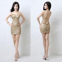 Cheap Actual Images 2015 Short Cocktail Dresses Nude Spaghetti Sheer Cheap Sequin Mini Party Queen Sexy Prom Dress Girls Graduation Homecoming New