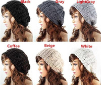 beret hats for sale - Women Warm Hat Baggy Beret Hot Sales Cotton Knit Knitted Braided Beanie Ski Cap Color For You