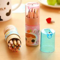 Wholesale cute colors drawing pencil with sharpener for baby cute girl style office school pencil for students ARC747