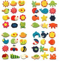 Wholesale a Set Colorful Animal Cartoon Kids Baby Wood Cartoon Fridge Magnet Child Educational Toy Funny Refrigerator MagnetsToys