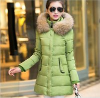 Wholesale 2015 Warm Faux Fur Hood Autumn Winter Jacket Women New Fashion Thicking Ladies Coats Long Cotton Padded Down Outerwears OXL15092104
