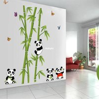 bamboo wall decorations - bedroom decoration JM7281 new Panda bamboo children s room wall stickers cute sticker living room TV backdrop decorative wall stickers
