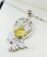 Wholesale Yellow chalcedony necklace pendant Natural real chalcedony sterling silver Perfect jewerly For men or women DH