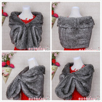 Wholesale 2016 Elegant Gray Faux Fur Bridal Wraps Shawl Arabic In Stock Bride Jackets Wedding Accessories Free Size Real Image