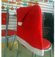 Wholesale Chair covers for Christmas Xmas hat chair cover daily necessities Big Christmas chair cover Christmas Party Props Christmas Decorations