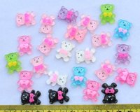bear sparkle - 250 Flat Back Resin Cabochon Bear mixed colors mm for diy sparkle glittery