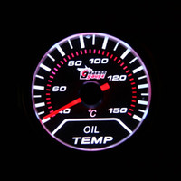 Wholesale Hot Sale Universal Car Motor Universal Smoke Lens mm degree Indicator Oil Temp Gauge White LED Tempreture Meter fre