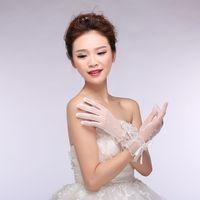 Wholesale Cheap Full Finger Bridal Gloves Tulle Short Gloves Wrist Length Beaded Wedding Gloves In Stock Bridal Gloves