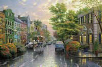 artwork stores - Thomas Kinkade Chinese Painting Hometown Morning Wall Pictures For Bedroom Cheap Artwork For Home Store Decoration Living