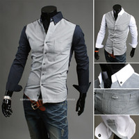 Wholesale Spring Casual Men Long Sleeve Shirts Fine Plaid Patchwork Style Office Men Shirts Cotton Slim Fit Dress Shirt For Spring Autumn Wear J160128