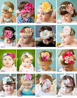 ribbon flowers - colors baby cotton flower headbands baby girls elastic hairbands fashion infant headwear retail