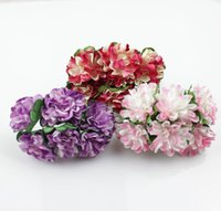 Wholesale Wedding supplies candy box gift packaging diy chromophous two color daisied handmade paper flowers